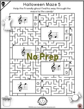Halloween Music Activities: Treble Pitch Mazes for Treble Lines and Spaces