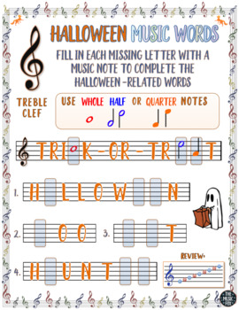 Halloween Music Activity! Halloween Word Letter/Note Fill-Ins