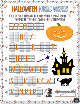 *Halloween Music Activity! Halloween Word Letter/Note Fill-Ins