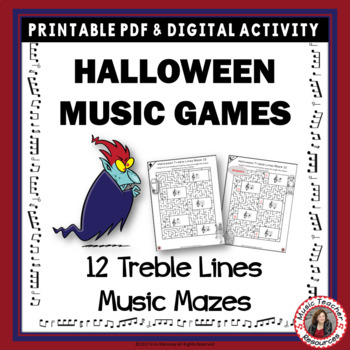 Halloween Music Games: Treble Pitch Mazes for Treble Note Lines