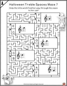 Halloween Music Games: Treble Pitch Mazes for Treble Note Spaces