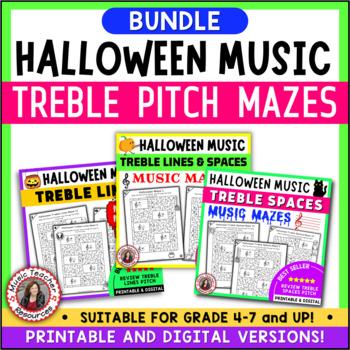 Halloween Music Games: Treble Pitch Music Mazes BUNDLE