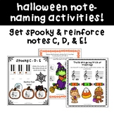 Halloween Music Note Naming Worksheets - Treble Clef Middle C, D, & E!