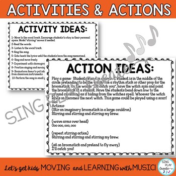 """Halloween Music """"Stirring My Brew"""" Song, Activities, Hand Actions, Mp3 Tracks"""