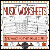 Halloween Music Worksheets - Treble Staff