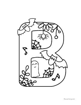 Halloween Musical Alphabet Coloring Book with Coloring page bonus