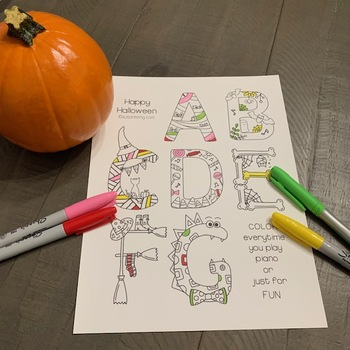 Halloween Musical Alphabet Coloring Page