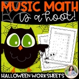 Halloween Music Math Worksheets: Music Math is a Hoot!