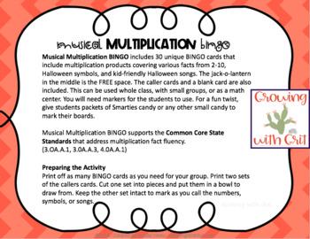 Halloween BINGO Game - Multiplication & Halloween Music