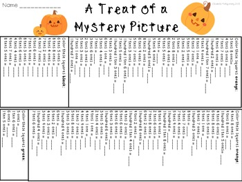 Halloween Mystery Picture Place Value Pumpkin