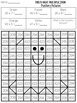 Halloween Mystery Pictures -- Multi-Digit Multiplication