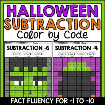 Halloween Mystery Pictures Subtraction Fact Fluency -1 to -10