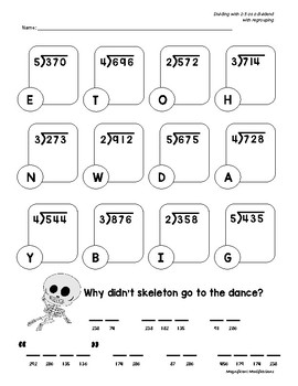 Halloween Mystery Riddles- Simple Long Division with 2-5 as a Divisor