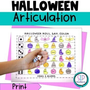 Halloween NO PREP Articulation Roll Say Color Sound Practice Speech Therapy