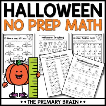 Halloween NO PREP Math Worksheets Pack