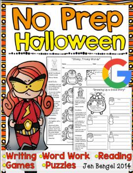 Halloween NO PREP Reading, Language, and Writing Printable