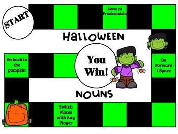 Halloween NOUNS QR Code Task Cards, SCOOT, and Board Game