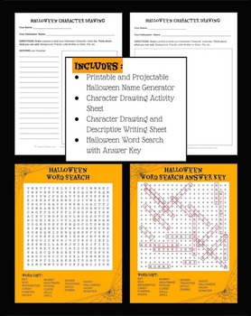 Halloween Name Generator Printable Art and Writing Activity