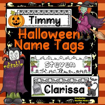 Halloween Name Tags Editable
