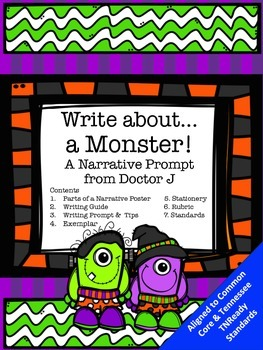 Halloween Monster Writing Prompt Narrative Essay Common Core TN Ready Aligned