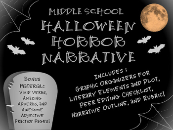 Halloween Narrative for Middle School! {Literary Element Graphic Organizers}