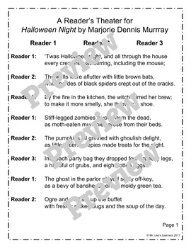 Halloween Night - A Halloween Reader's Theater