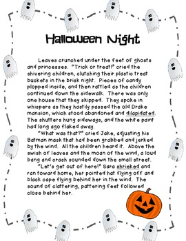 Halloween Night-- Drawing Conclusions with Reading Comprehension