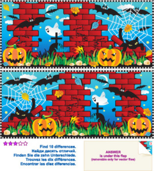 Halloween Night Find the Differences Visual Puzzle, Commercial Use Allowed