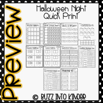 Halloween Night Quick Prints for Kindergarten : No Prep