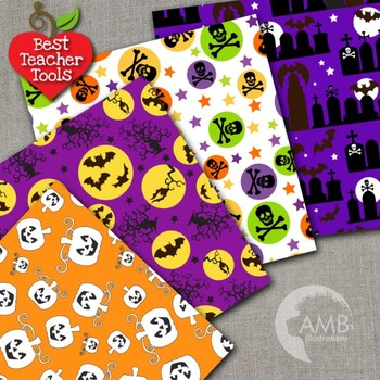 Halloween Digital Papers, Halloween Night Papers and Backgrounds, AMB-153