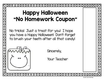 Halloween No Homework Coupon {Freebie}