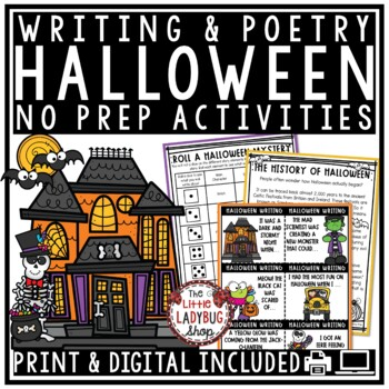 Halloween Writing Activities Task Cards  & Halloween Poetry Writing Packet