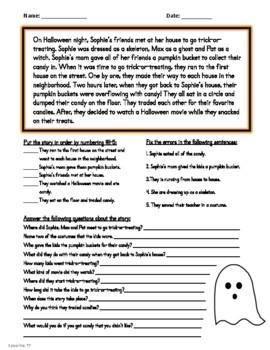 Halloween No Prep Comprehension/Sequencing Stories