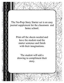Halloween No-Prep Story Starter Sentence Printable Set (black-line master)