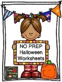 Halloween No Prep Worksheets
