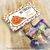 Halloween No Tricks Just Treats Printable Candy and Favor
