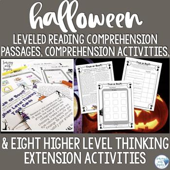 Halloween Reading Comprehension Activity: Leveled Texts & Reading Response Tasks
