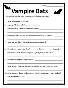 Vampire Bats Nonfiction Reading Passages and Activities Animal Non-Fiction Bats