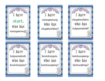 Halloween Nonsense Word Games - 5 Levels of I Have, Who Has?