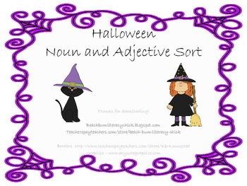 Halloween Noun Adjective Sorting Activity