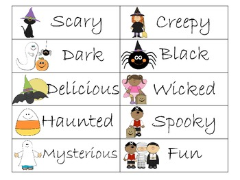 Halloween Noun Adjective Sorting Activity