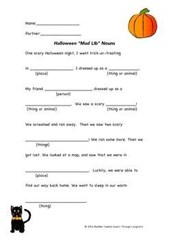Halloween Noun Mad Lib-Style Activity