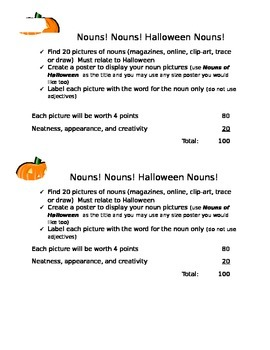 Nouns - Halloween project