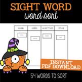 Halloween Parts of Speech Sort {Write the Room}