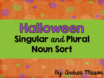 Halloween Noun Sort {Dollar Spot}