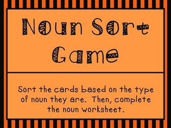 Halloween Noun Sort Task Cards