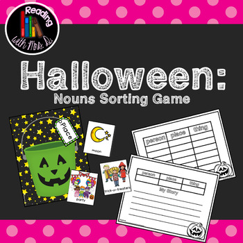 Halloween Noun Sorting Mats with Recording Sheets and Writing Activity