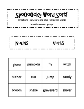 Halloween Noun Verb Sort