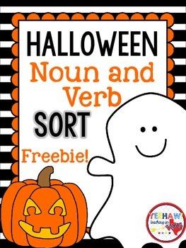 Halloween Noun and Verb Sort Freebie