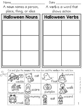Halloween Noun And Verb Sort Parts Of Speech Worksheets By The Kinder Kids